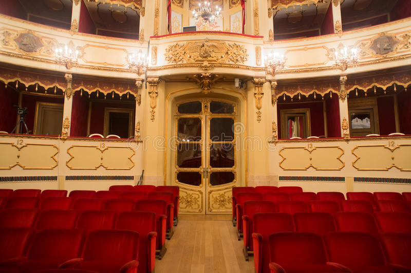 Theater, interior view, arena and balconies stock photo