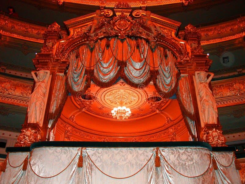 Theater, königlicher Kasten, klassischer Luxusdekor, Mariinsky-Theater, St Petersburg lizenzfreies stockfoto