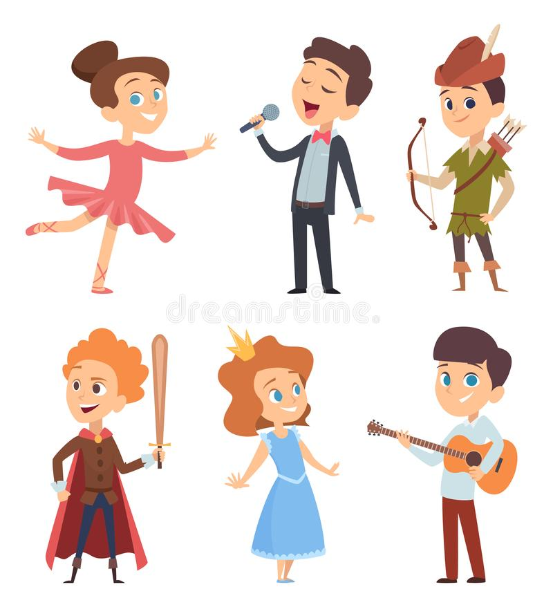 Theater kids. Children making performance at school stage vector funny characters theatre actors in action poses vector illustration
