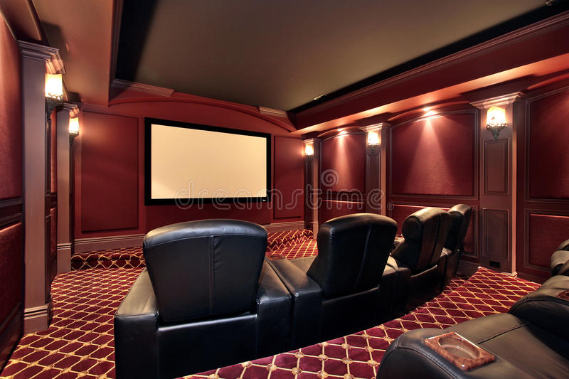 Theater in luxury home stock photos