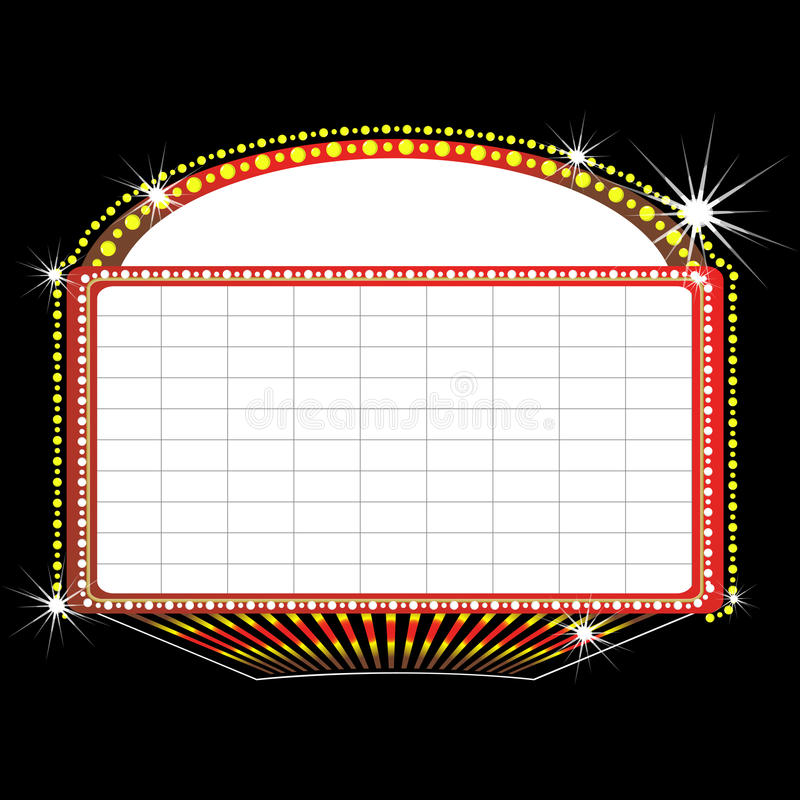 Theater marquee sign. Illustration of a theater marquee sign stock illustration