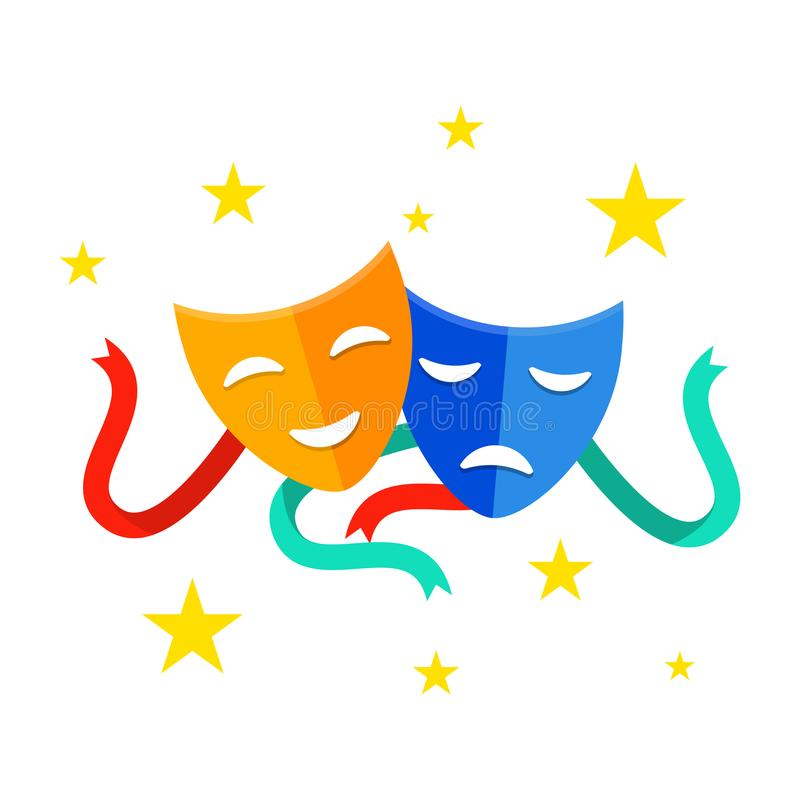 Theater mask with ribbons. Comedy and tragedy masks isolated on white background. Traditional theater symbol. Theater vector illustration
