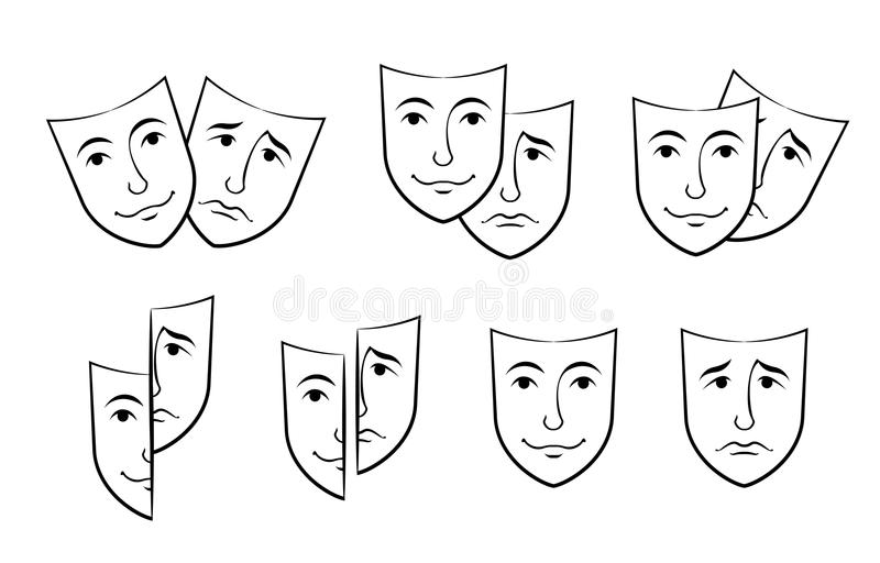 Theater Mask Symbols Vector Set Sad And Happy Concept Stock Vector
