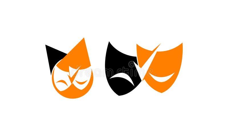 Theater--Masken-Schablonen-Satz vektor abbildung