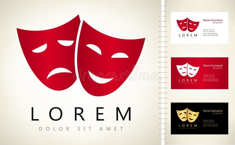 Theater- maskiert Logovektor lizenzfreie abbildung