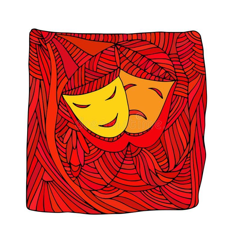 Theater maskiert Tragödienkomödie - Illustration lizenzfreie abbildung