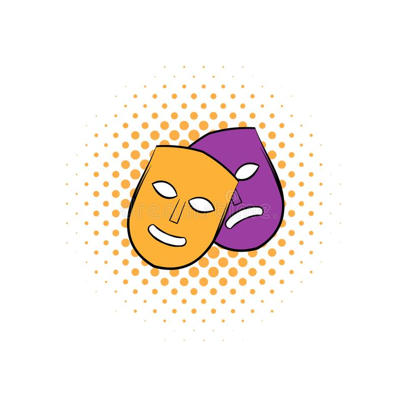 Theater masks comics icon. Theater comics icon with happy and sad masks. Yellow and purple masks stock illustration