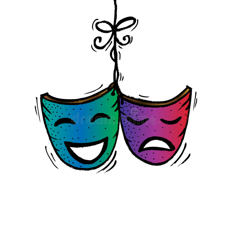theater masks drama and comedy stock illustration illustration rh dreamstime com  drama masks clip art free