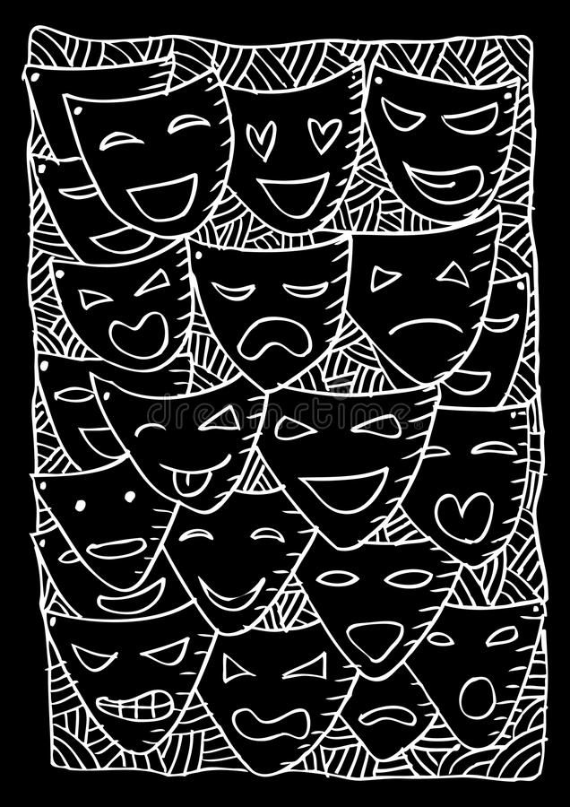 Theater masks, drama and comedy. Sketchy style vector illustration