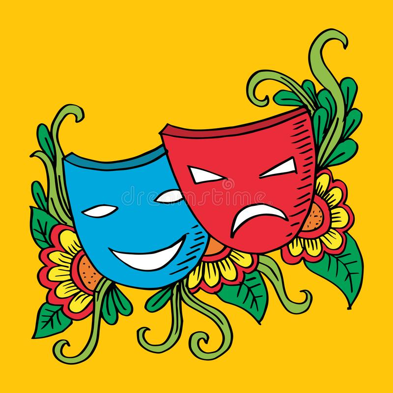 Theater masks, drama and comedy. Yellow background stock illustration