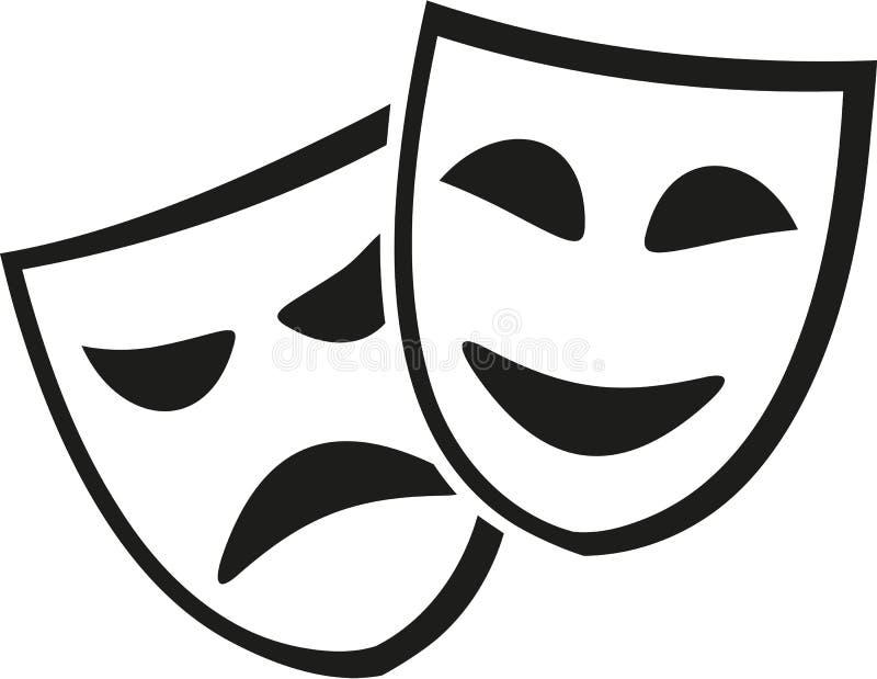 Theater masks icon vector illustration