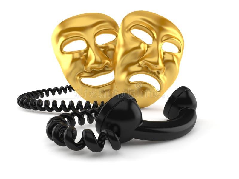 Theater Masks with telephone handset. Isolated on white background. 3d illustration stock illustration