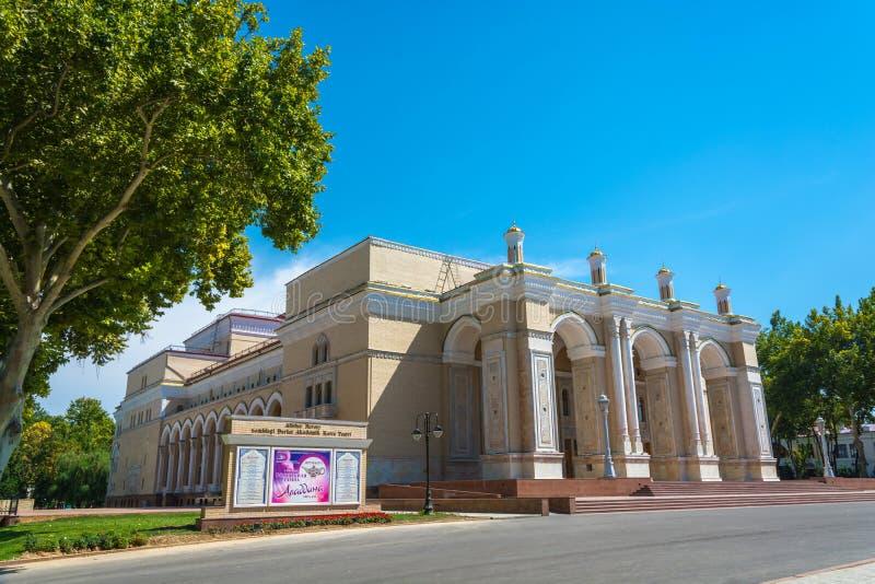 Theater na Alisher Navoi in Tashkent, Oezbekistan wordt genoemd dat royalty-vrije stock afbeeldingen