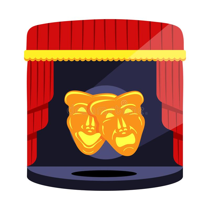 Gold theatrical masks. Comedy and tragedy. Comedy and tragedy theater masks with blue and red ribbons. Modern flat cartoons style vector illustration icons stock illustration