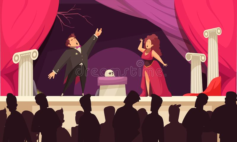 Theater Opera Flat Scene. Opera theater scene flat cartoon poster with 2 singers aria onstage performance and audience silhouettes vector illustration royalty free illustration