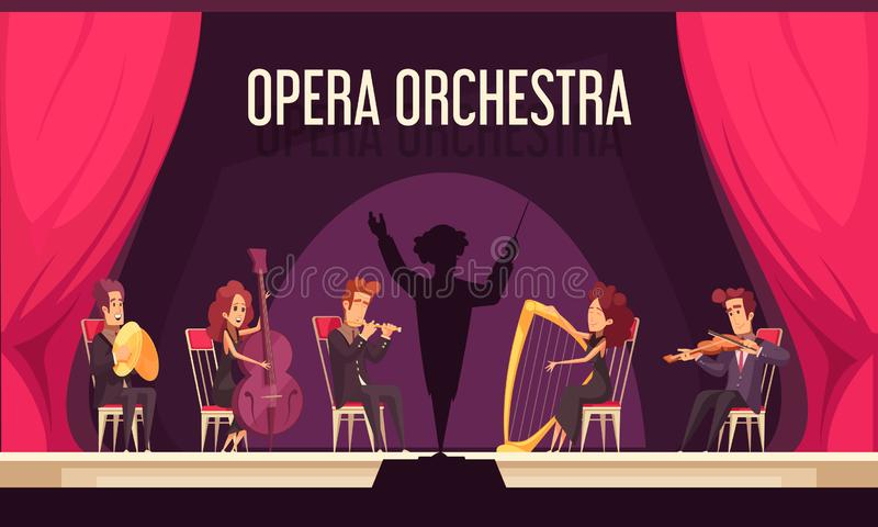 Theater Orchestra Performance Flat royalty free illustration
