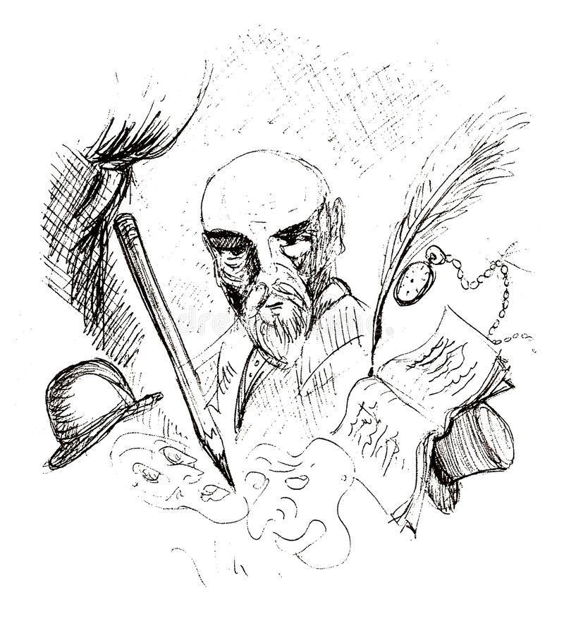 Theater, poetry and literature. Black pen drawing on theater, poetry and literature royalty free illustration