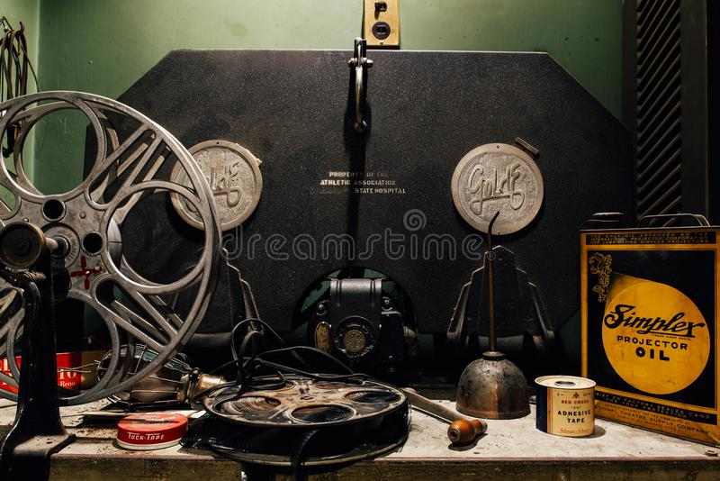 Theater / Projector Equipment and Supplies - Abandoned Harrisburg State Hospital - Harrisburg, Pennsylvania stock image