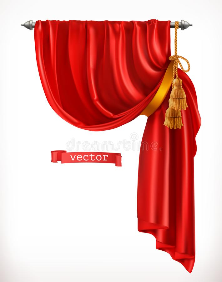 Theater. Red curtain. 3d vector. Theater. Red curtain. 3d realistic vector stock illustration
