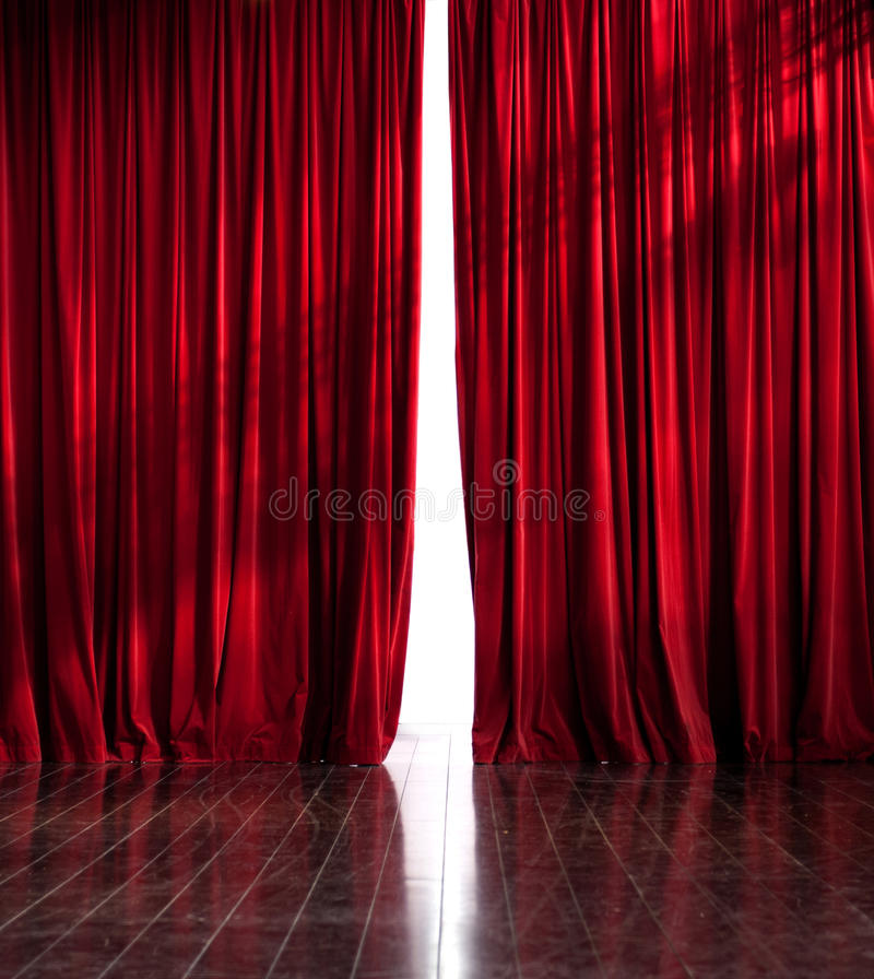 Theater red curtain opening royalty free stock photos
