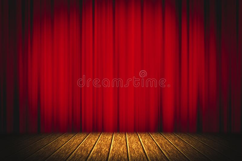 Theater red curtain on stage wooden floor entertainment background, Red curtain stock photo