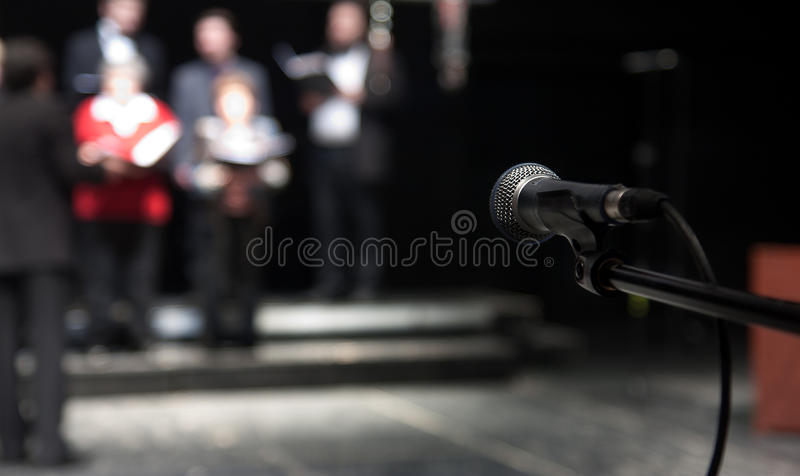 Theater rehearsal. Rehearsal of a theatrical performance - actors and singers stock photography