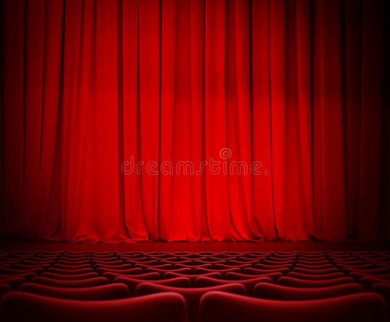 Theater rood gordijn op stadium met 3d illustratie van fluweelzetels royalty-vrije stock foto