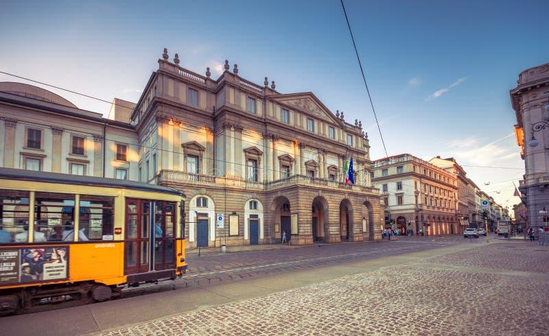 The theater Scala of Milan, Italy. La Scala Italian: Teatro alla Scala, is a world renowned opera house in Milano, Italy. stock photos