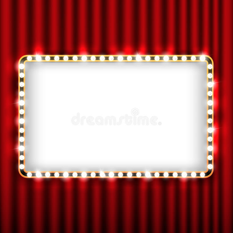Theater scene with red curtain and sign gold frame. Theater scene with red curtain and sign with gold frame. Presentation banner with curtain for theater royalty free illustration
