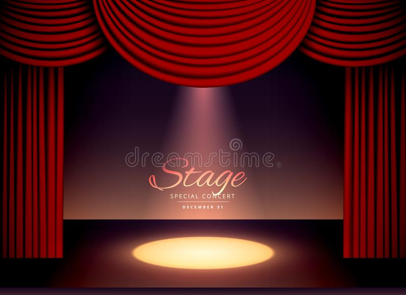 Theater scene with red curtains and falling spot light. Illustration royalty free illustration