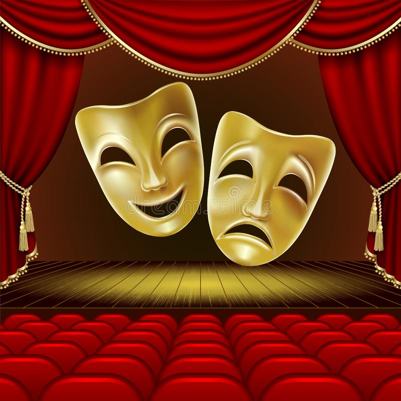 Free Theater Scene. Theatrical Masks. Royalty Free Stock Images - 150708129