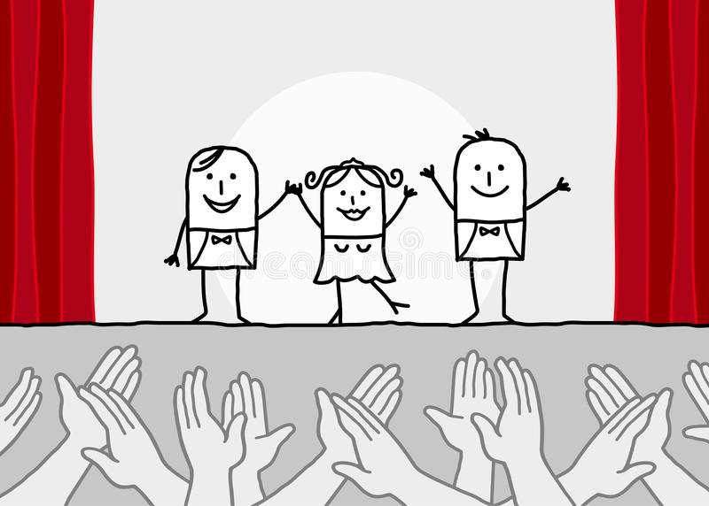Theater show & clapping hands. Hand drawn cartoon characters - theater show & clapping hands