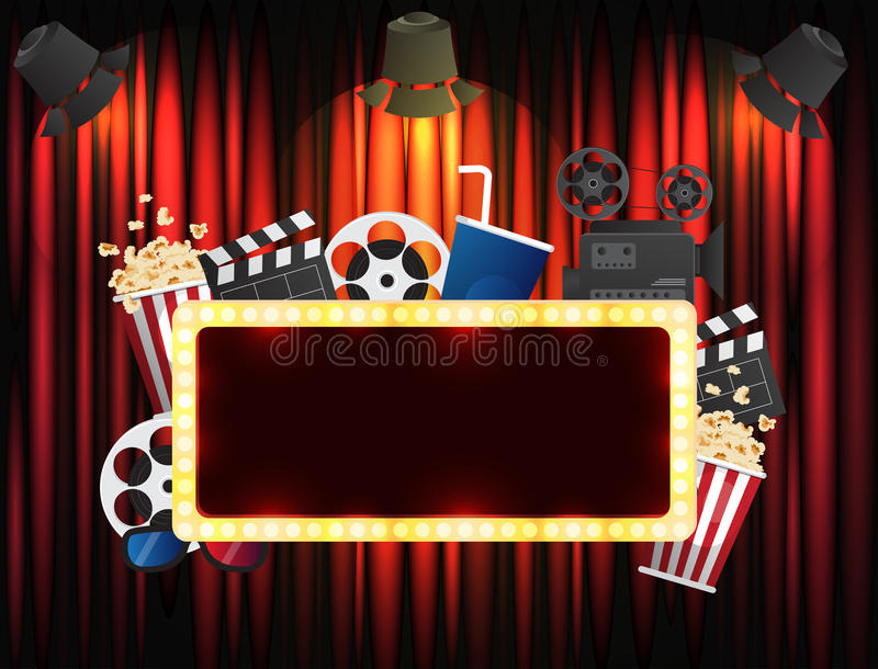 Theater sign or cinema sign on curtain with spot light. Vector stock illustration