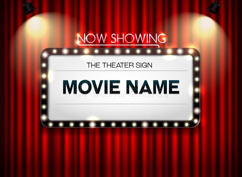 Theater sign on curtain. And spot light background royalty free illustration