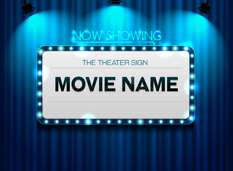 Theater sign on curtain and spot light background. Theater sign on curtain blue and spot light background vector illustration