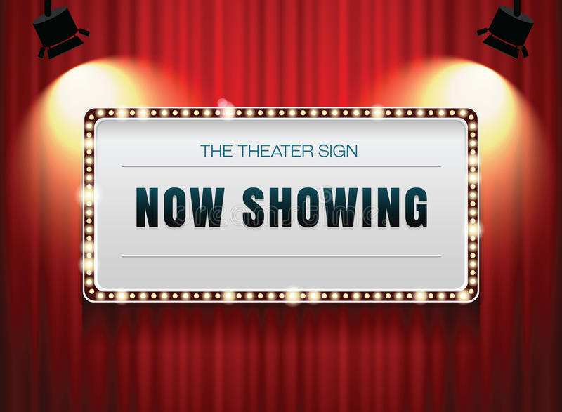 Theater sign on curtain. With spotlight royalty free illustration