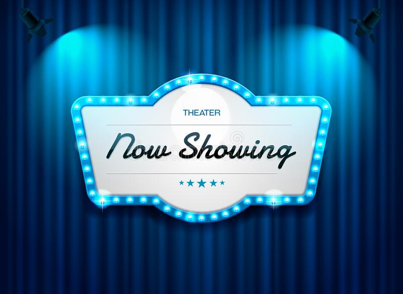 Theater sign on curtain with spotlight vector. Illustration royalty free illustration