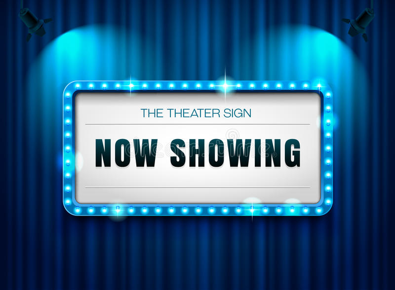 Theater sign on curtain with spotlight. Vector illustration royalty free illustration