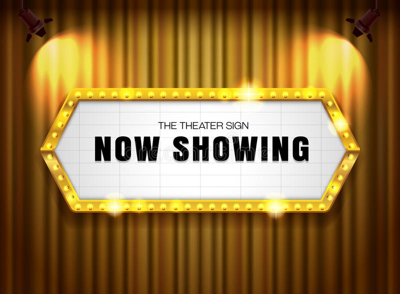 Theater sign gold frame on curtain with spotlight. Vector illustration royalty free illustration