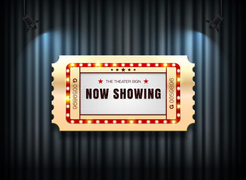 Theater sign ticket on curtain with spotlight background. Vector illustration royalty free illustration