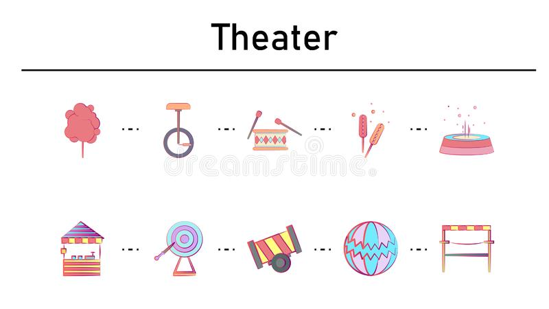 Theater simple concept flat icons set vector illustration