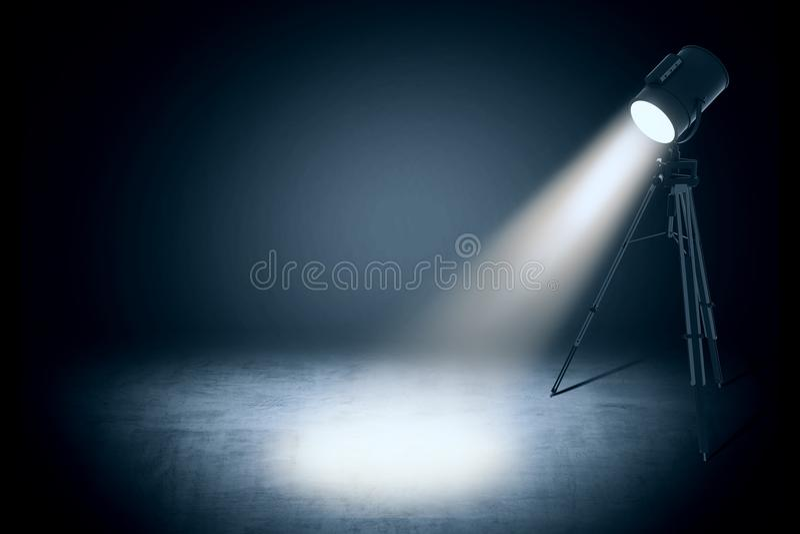Theater spot light in empty studio. Theater spot light on black curtain with smoke effect in empty studio. 3d rendering vector illustration