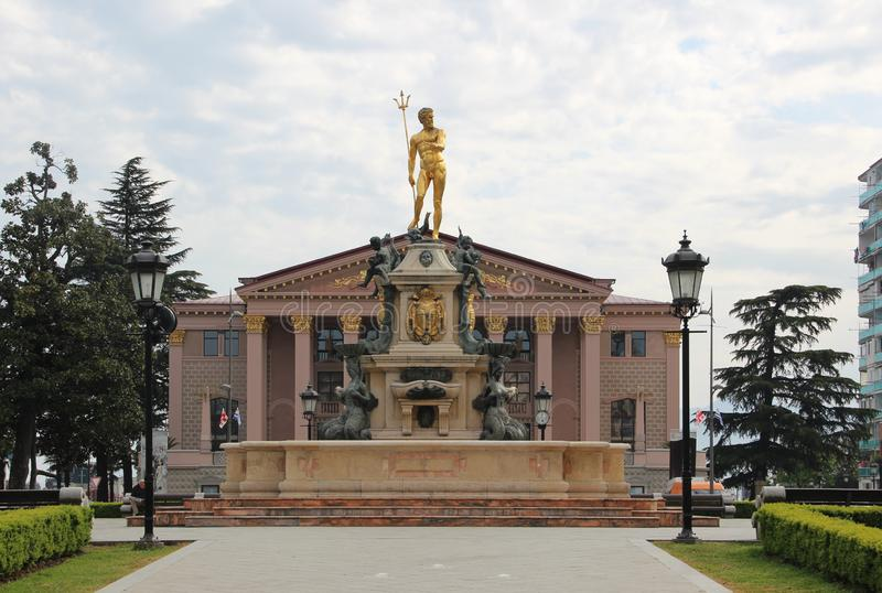 Theater Square, Fountain with a statue of Neptune and Batumi State Drama Theater royalty free stock images