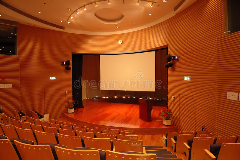 The theater stage. The interior of a theater, the stage and screen