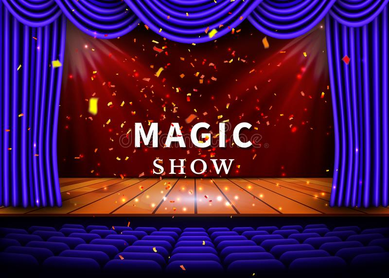 A theater stage with a blue curtain and a spotlight and wooden floor. Magic Show poster. Vector.  stock illustration