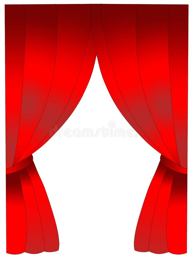 Theater stage and curtain cartoon illustration coloring drawing line. Theater stage and curtain coloring drawing line white background stock illustration