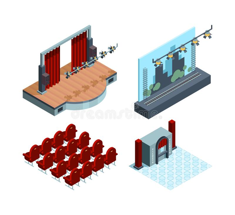 Theater stage isometric. Opera ballet hall interior red curtain actors theater seat vector collection royalty free illustration