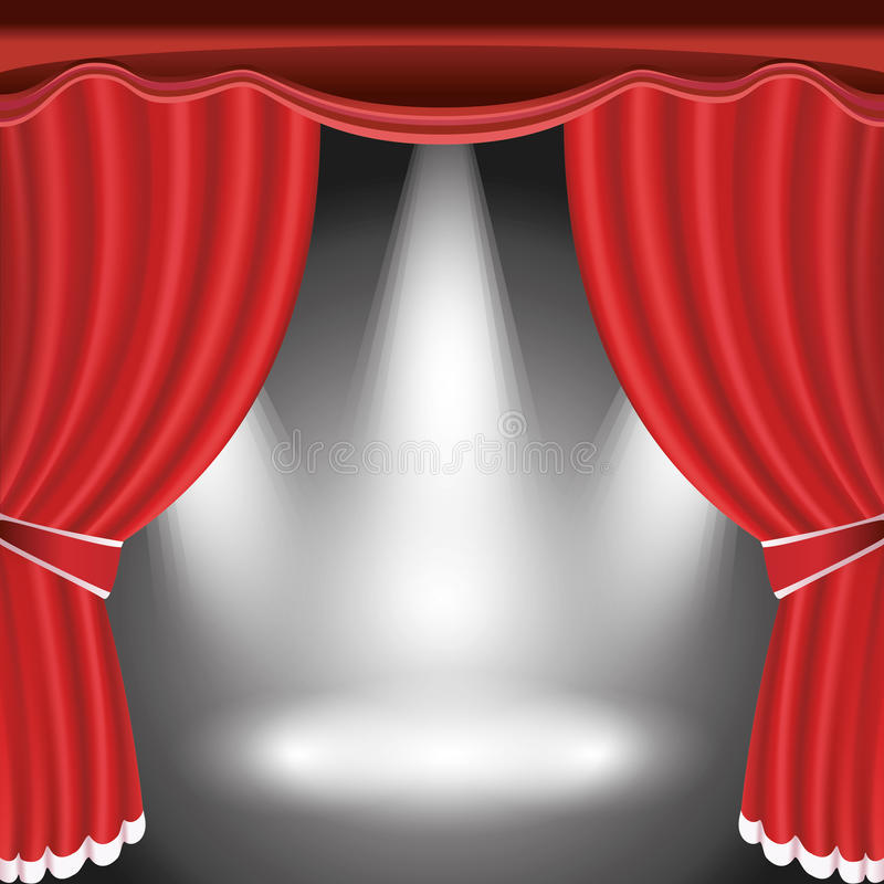 Download Theater Stage With Open Red Curtain And Spotlight Stock Vector - Illustration of decor, illustration: 26134667