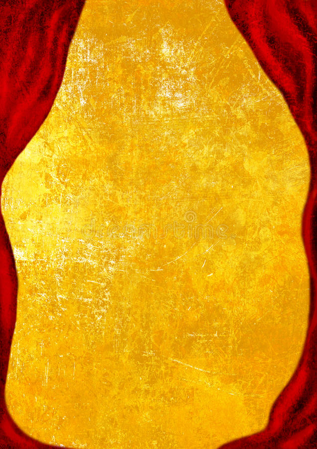 Theater Stage with red curtain, golden background stock image