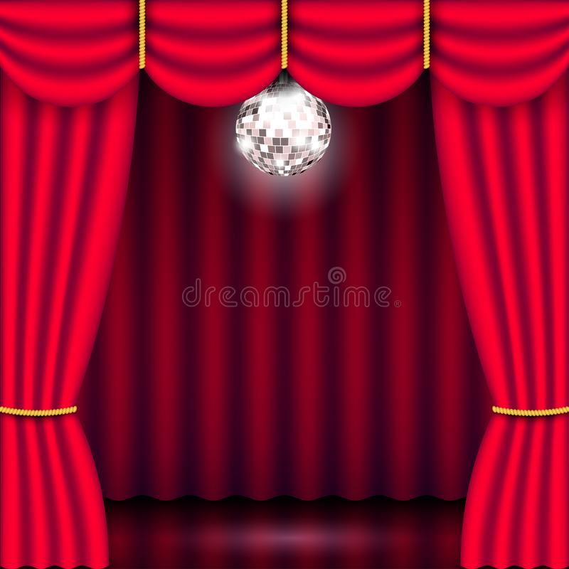 Theater stage, red curtain and mirror ball vector illustration